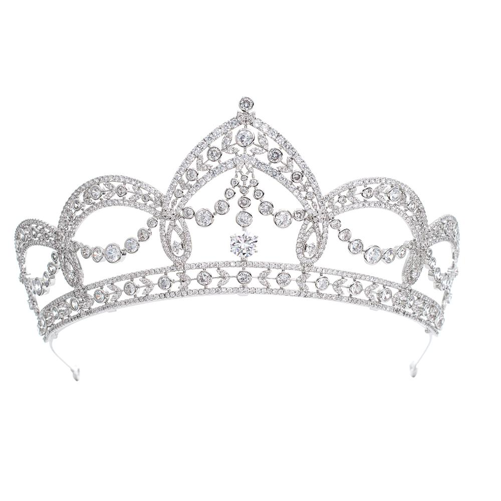 Cubic Zirconia Wedding Bridal Princess Big Tiara Crown Women Girl Prom Hair Jewelry Accessories Real Platinum