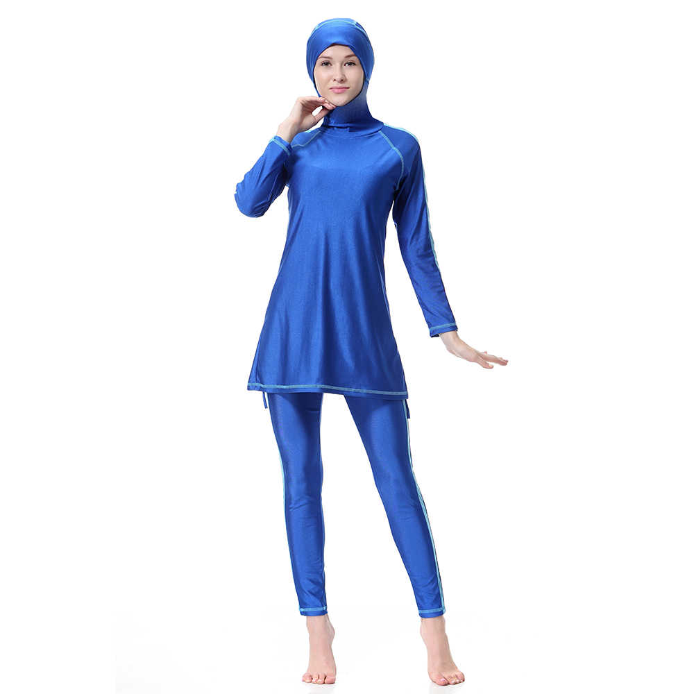 45dc5ca942263 Casual Muslim Islamic Swimsuits Women's Swimwear Print Sports Clothes High  Elastic Beach Conservative Coat Pants Hat Arab Modest