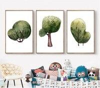 북유럽 간단한 수채화 트리 장식 인쇄 그림 벽 예술 캔버스 그림 장식 거실 액자