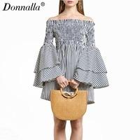 Donnalla Women Striped Off Shoulder Sexy Mini Dress Ruffle Long Sleeve Slash Neck Women Vestidos Casual