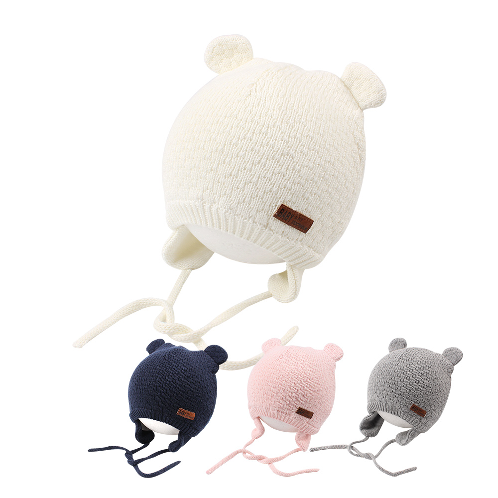 Knit Warm Baby Hat Cute Bear Baby Hat For Girls Infant Toddler Earflap Beanie Spring Autumn