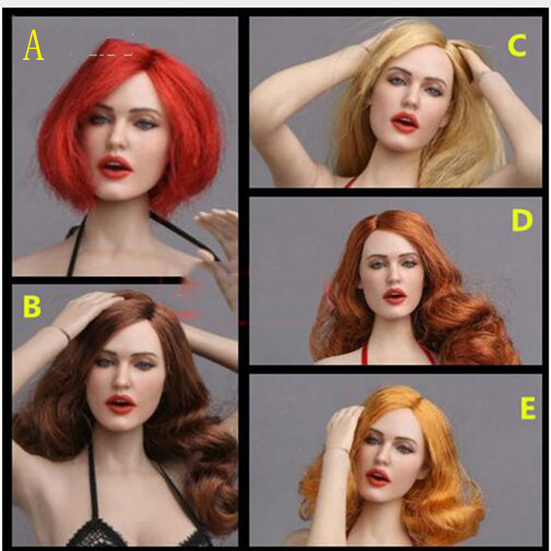 """1/6 European Women Head Sculpt with Facial Expression Open mouth Curly brown Hair GC017 For 12"""" Action Figures Pale Bodies"""