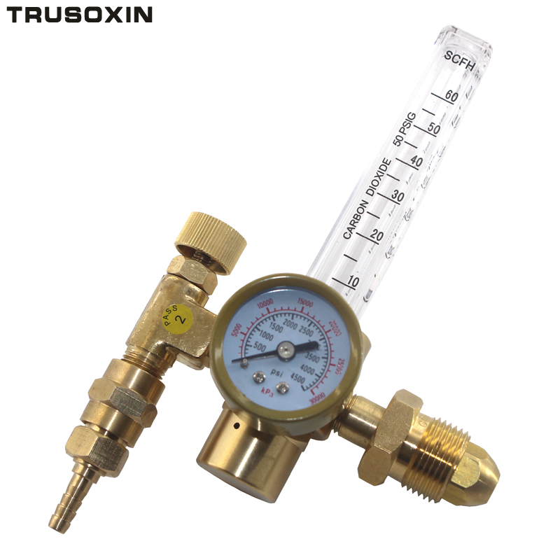CO2 Argon Pressure Reducer Flow Meter Control Valve Regulator Reduced Pressure Gas Flowmeter Welding Flowmeter Weld Gauge argon regulator yar 195 copper outer thread