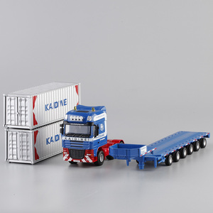 Image 5 - Alloy Diecast 1:50 Low Bed Transporter Container /Reach Stacker /Front Trolley Truck Rubber Tire Vehicles Model Kids Gift Toys