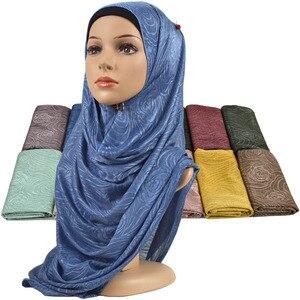 Image 1 - Feminino elástico liso algodão flor hijab cachecol elástico muçulmano hijab headwear envoltórios macio confortável xales atacado 10 pçs/lote