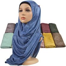 Women Elastic Plain Cotton Flower Hijab Scarf Stretchy Muslim Hijab Headwear Wraps Soft Comfortable Shawls Wholesale 10PCS/Lot