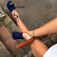 Trendy Dark Blue Patchwork Chunky Heel Sandals Fancy Peep Toe Block Heel Lace Up Dress Sandals