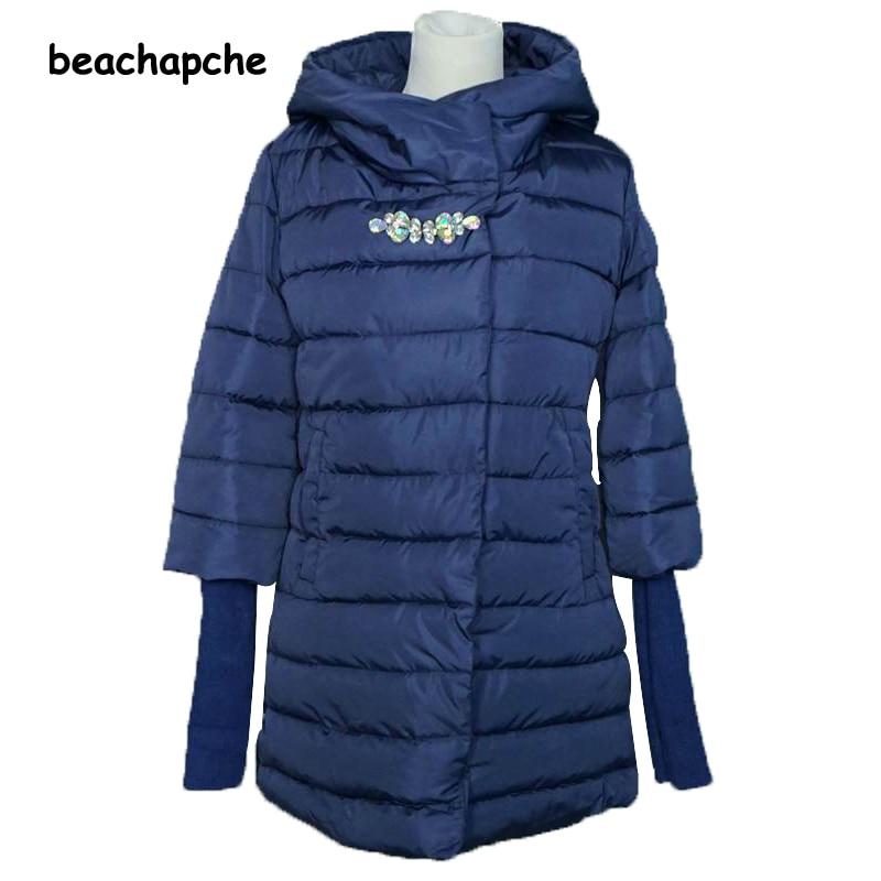 2016 zimní bunda ženy dlouhý kabát zhušťující dámské teplé - Dámské oblečení