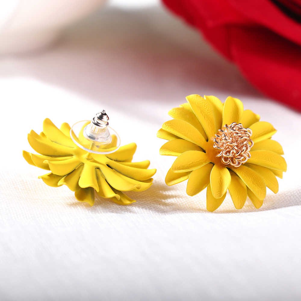 2019 Korean Style Colorful Spray Paint Big Flower Stud Earrings For Women Elegant Sweet Summer Earrings Charm Jewelry Brincos