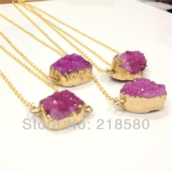 476d56eb779a H-QN62 Hot pink druzy colgante collar de plata o de oro forma redonda de  piedra natural collar de las mujeres para el Partido 40mm- 50mm 18 pulgadas