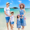 2017 Beach Family Set Clothes Long Mother/Mom and Daughter Dresses Clothes Father Son Tops+Shorts Family Clothing Sets 3XL GS36