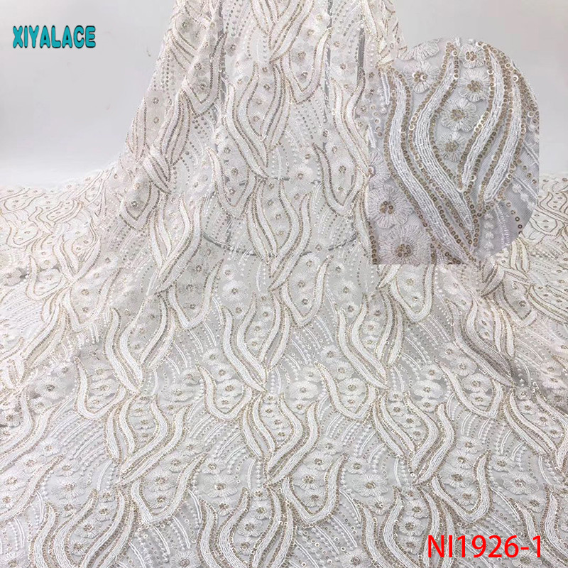 African Lace Fabric 2019 Nigerian Organza Newest  With Flower Sequins African Tulle Lace For Wedding Party Dress YANI1926-1