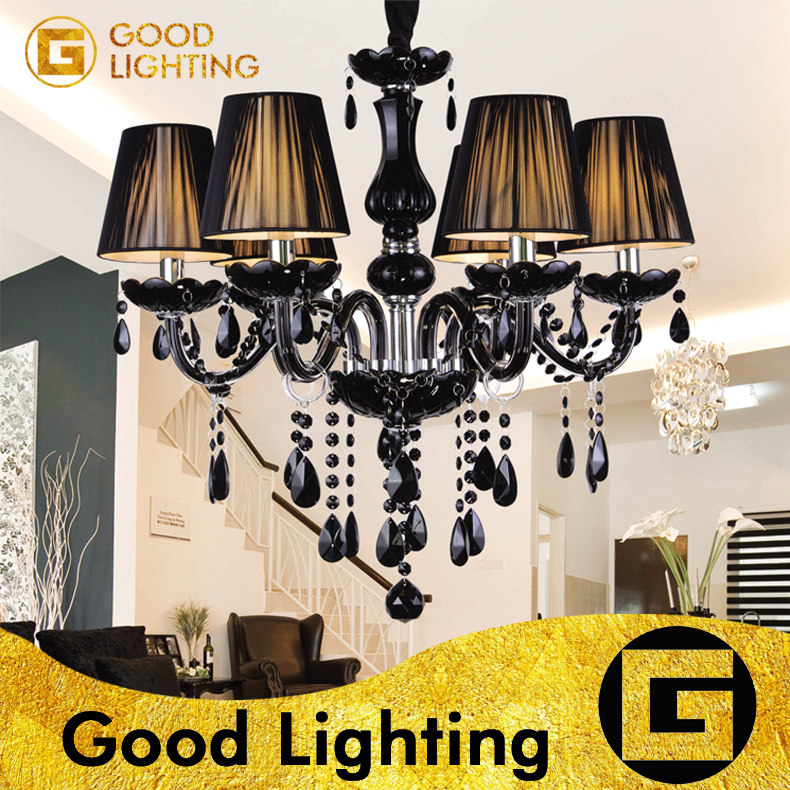 Modern Black Crystal Lights Crystal Chandeliers Pendant Lamp Dining Room Living Room Lobby lamp Use X 6pcs E14 LED Candle BulbsModern Black Crystal Lights Crystal Chandeliers Pendant Lamp Dining Room Living Room Lobby lamp Use X 6pcs E14 LED Candle Bulbs