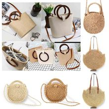2019 Women Round Beach Shoulder Bag Circle Straw Bags Summer Woven Rattan Handbags Women Messenger Bags