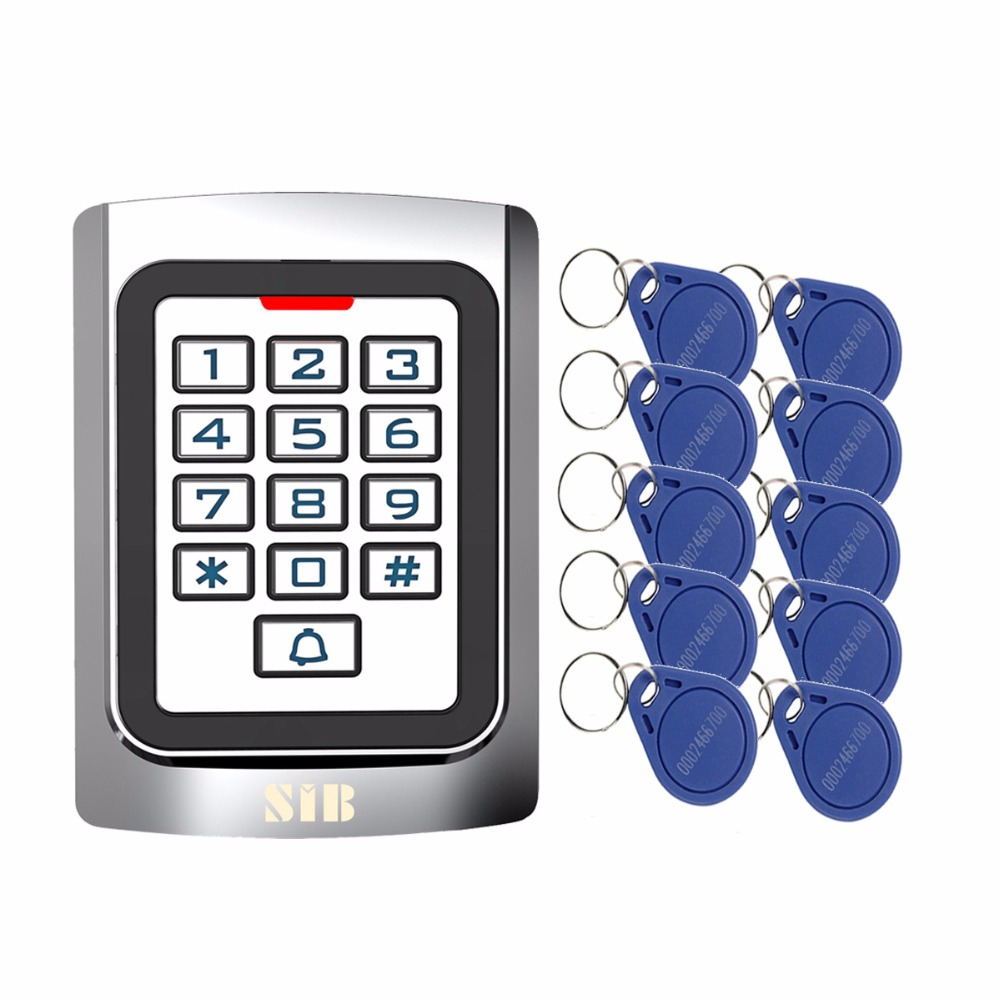 SIB Security Entry Door Reader RFID 125Khz Metal Case Silicon Keypad EM Card Standalone Access Controller + 10pcs RFID Cards rfid proximity 125khz em card reader led keypad standalone 2000 users door access control waterproof metal case