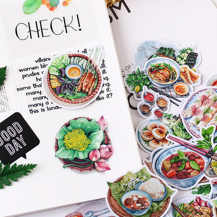 17pcs Hand Drawing Food Thin Paper Stickers Crafts And Scrapbooking Decorative Planner Sticker Stationery Waterproof Phone Diy