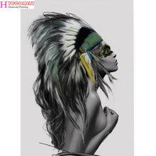 Full 5D DIY Diamond embroidery people Nordic Indians Women Feather diamond painting Cross Stitch Modern Decor For Living Room(China)