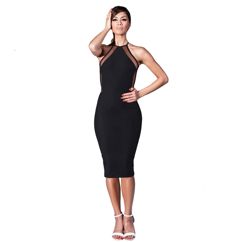USA STOCK S-XXL 2018 Party Dresses Black Mesh Panel Back Crisscross Midi Pencil Slimming Fitted Bodycon Bandage Dress 9139