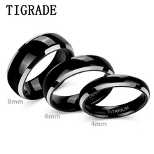 TIGRADE 8mm 6mm 4mm Titanium Rings Black Dome High Polished Edge Wedding Engagement Band for Men Women