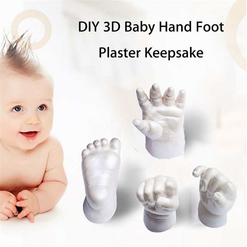 3D Baby Hand Foot plaster Keepsake Baby Mould Hand&Foot Casting Prints Kit Cast Gift Drop Shipping 53# ...
