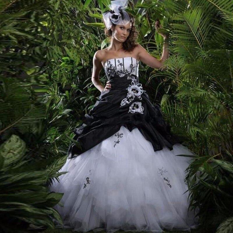 2017 Gothic Zwart Wit Trouwjurken Strapless Baljurk Kralen