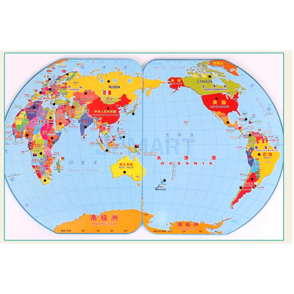World Map Puzzle Game for Kids Toddler, World Map and National Flags Match