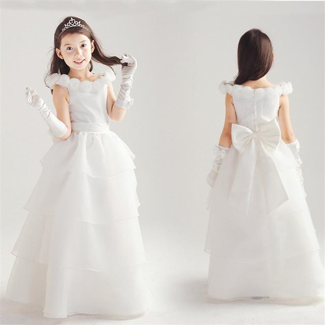 Blanco Niña de las Flores Vestido Del Banquete de Boda Del Desfile Vestido de Bautizo Del Bebé Vestidos de Primera Comunión vestido de Dama de honor Vestido de 4-8 Años