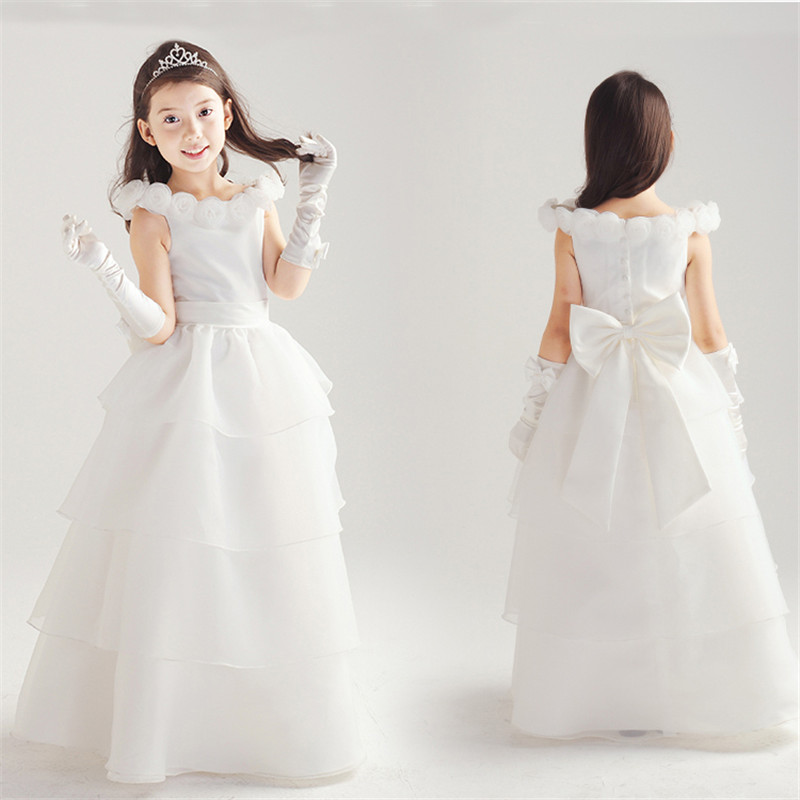 f81055e16 White Flower Girl Christening Dress Wedding Party Pageant Vestido ...