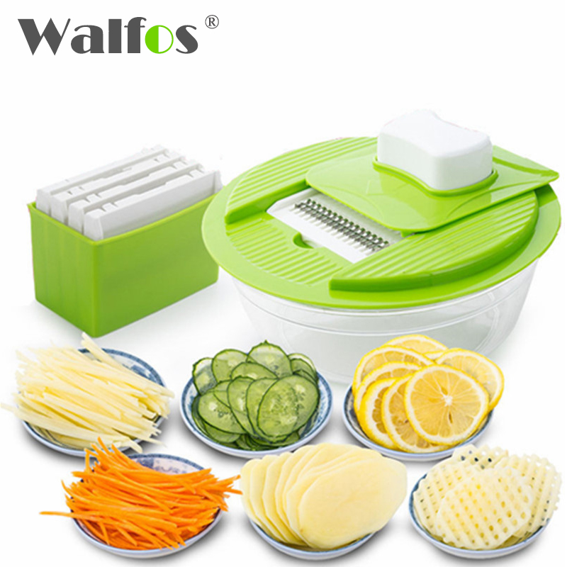 WALFOS Mandoline Vegetable Slicer Dicer Fruit Cutter Slicer With 4 Interchangeable Stainless Steel Blades Potato Slicer