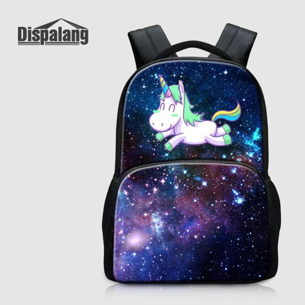 7a1cd16a900c 17 дюймов Большой Capcity ноутбук рюкзаки для Для женщин Для мужчин  Симпатичные Единорог на пространство вселенной