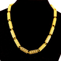 Heavy Round Column Necklace 191g 18ct Real Yellow Gold Filled Men's Chain Thicken 8mm Cool Man/Boys Jewelry Gift