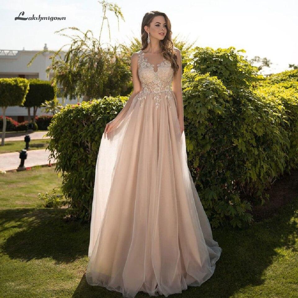 Lakshmigown Sexy Champagne robe de mariée une ligne 2019 Tulle longue robe de mariée pure dentelle haut plage Boho robe de soirée de mariage étage