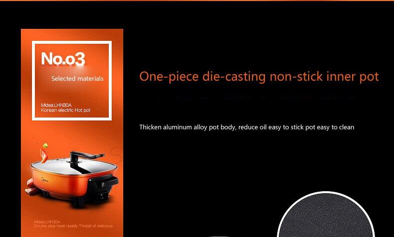 LK1801 Главная Многофункциональный Электрический Hot Pot двойное кольцо Отопление Multi Плита неотъемлемой литья антипригарным горшок 6L 1500 Вт оранжевый