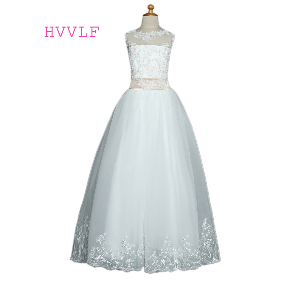 2019   Flower     Girl     Dresses   For Weddings Ball Gown Tulle Appliques Lace Bow First Communion   Dresses   For Little   Girls