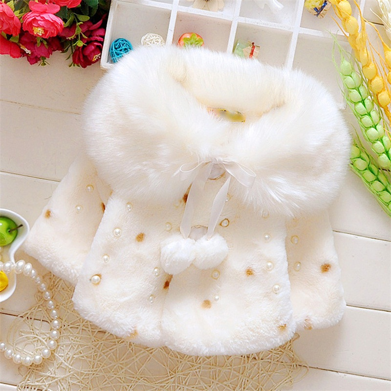 Faux Fur Coats For Baby Girls Autumn Winter Black Dot Lovely Clothing Child Wool Outwear Little Girl Beadings Shawl Kids Costume