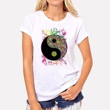Women t shirts fashion Summer Yin Yang Psychedelic Sign Art Print t-shirt funny Short Sleeve White hip pop tee shirt homme