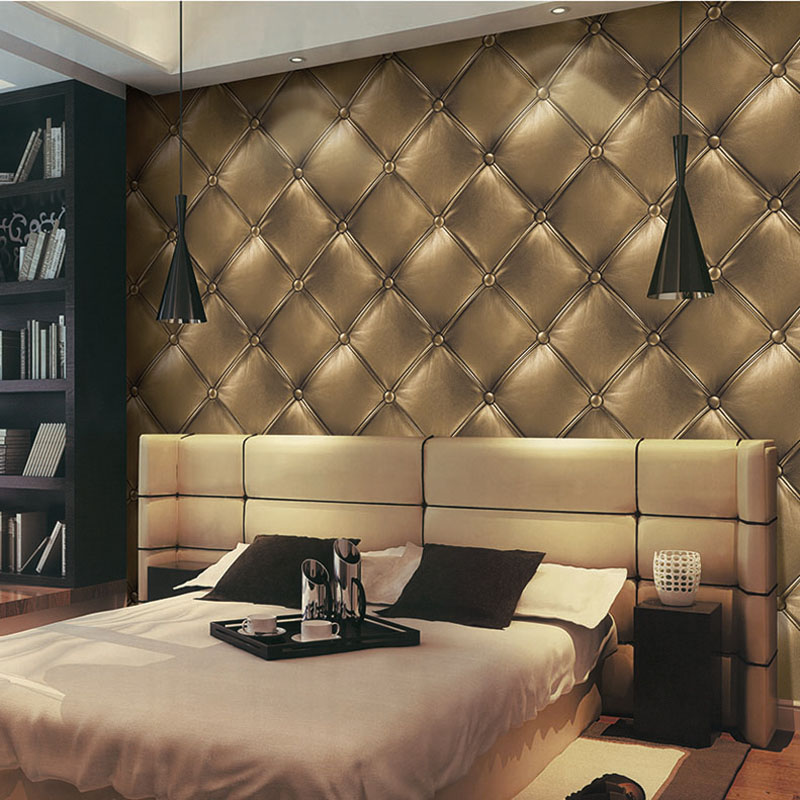Gold Luxury Faux Leather Wall Papers Home Decor 3D Soft