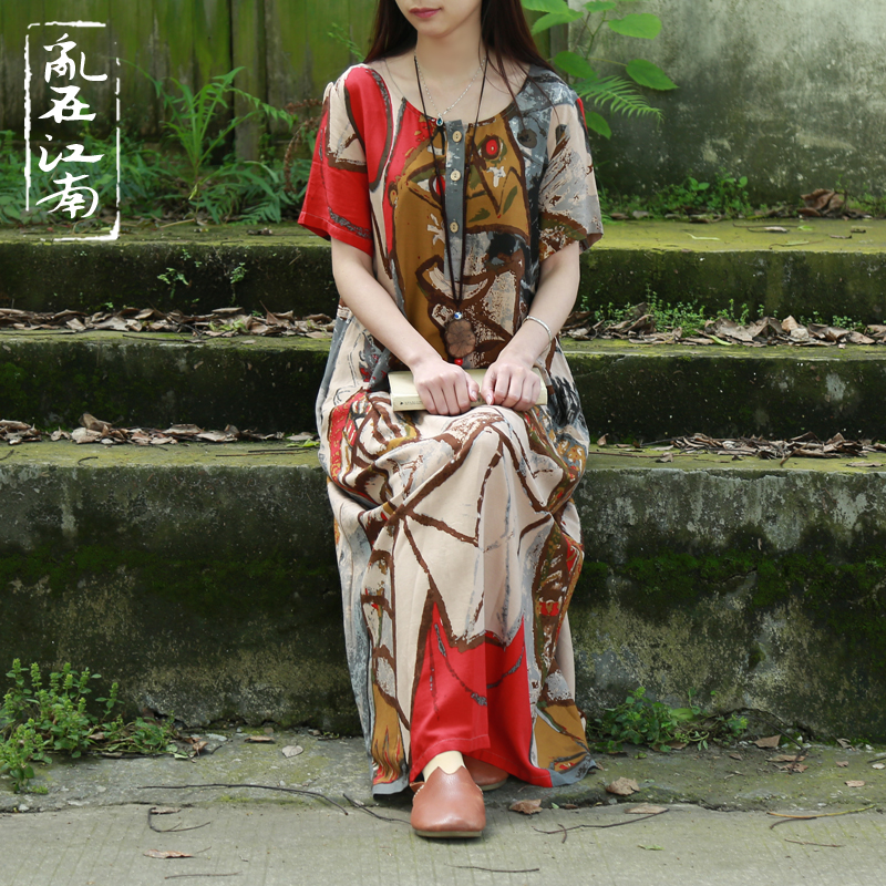 Summer Style pure cotton Dress Women abstract painting dress Women vestidos robe 2 colors