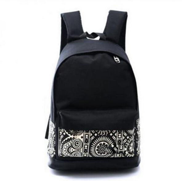 New 2019 Women Black Travel Backpacks Bags Simple Geometry Printing Backpack For Teenage Girls Laptop School Bags