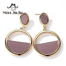 Señorita juju acrílico pendientes redondos gota de oro pendientes mujer moda joyería mujeres pendiente de acrílico pendientes colgantes M3032