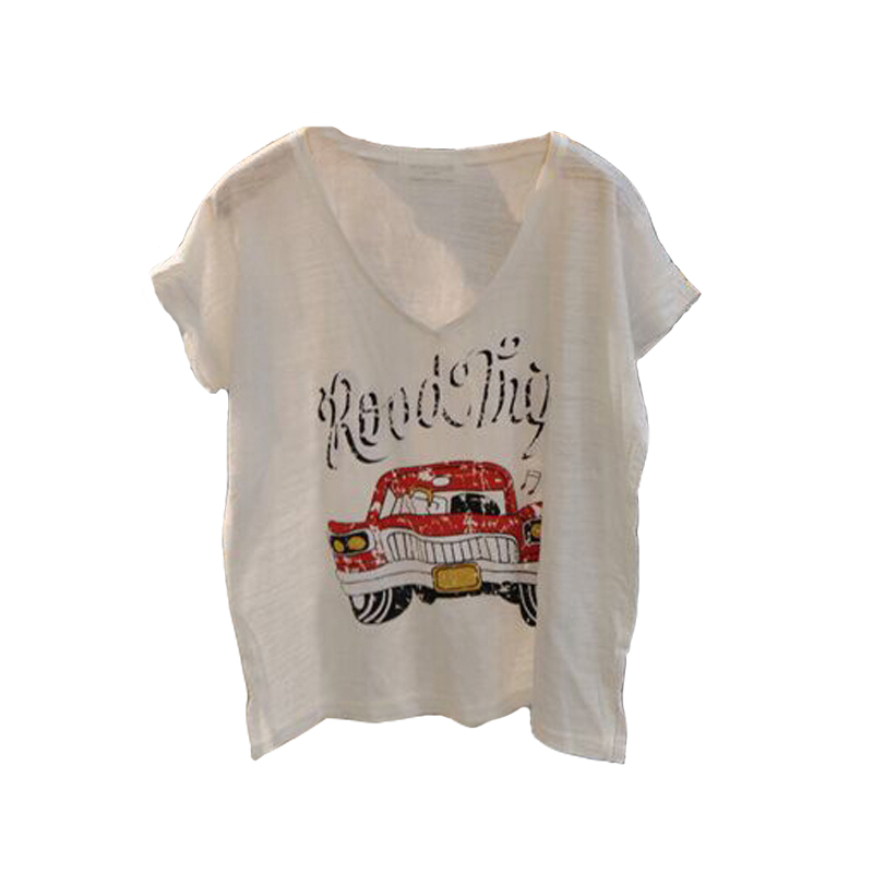 e3bc73e8 Summer T-shirt Crop Tops Short Sleeve T-shirts Letter Car Print Short Casual