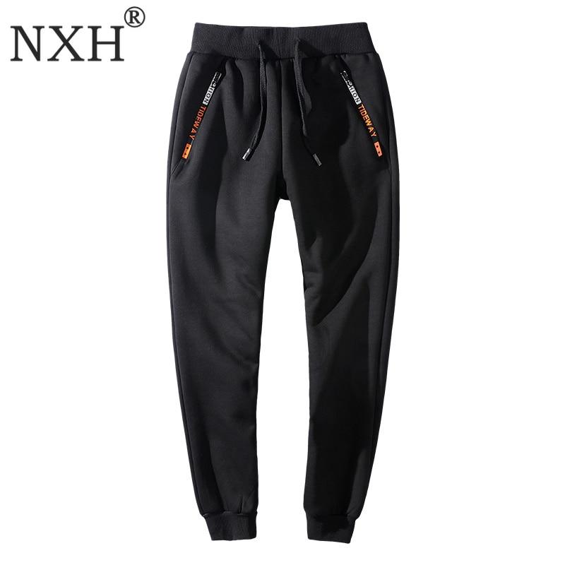 NXH velours pantalons de survêtement hiver Joggers chaud grande taille 6XL 7XL 8XL fourrure hommes Streetwear taille élastique Skinny Sport pantalon Gym pantalon