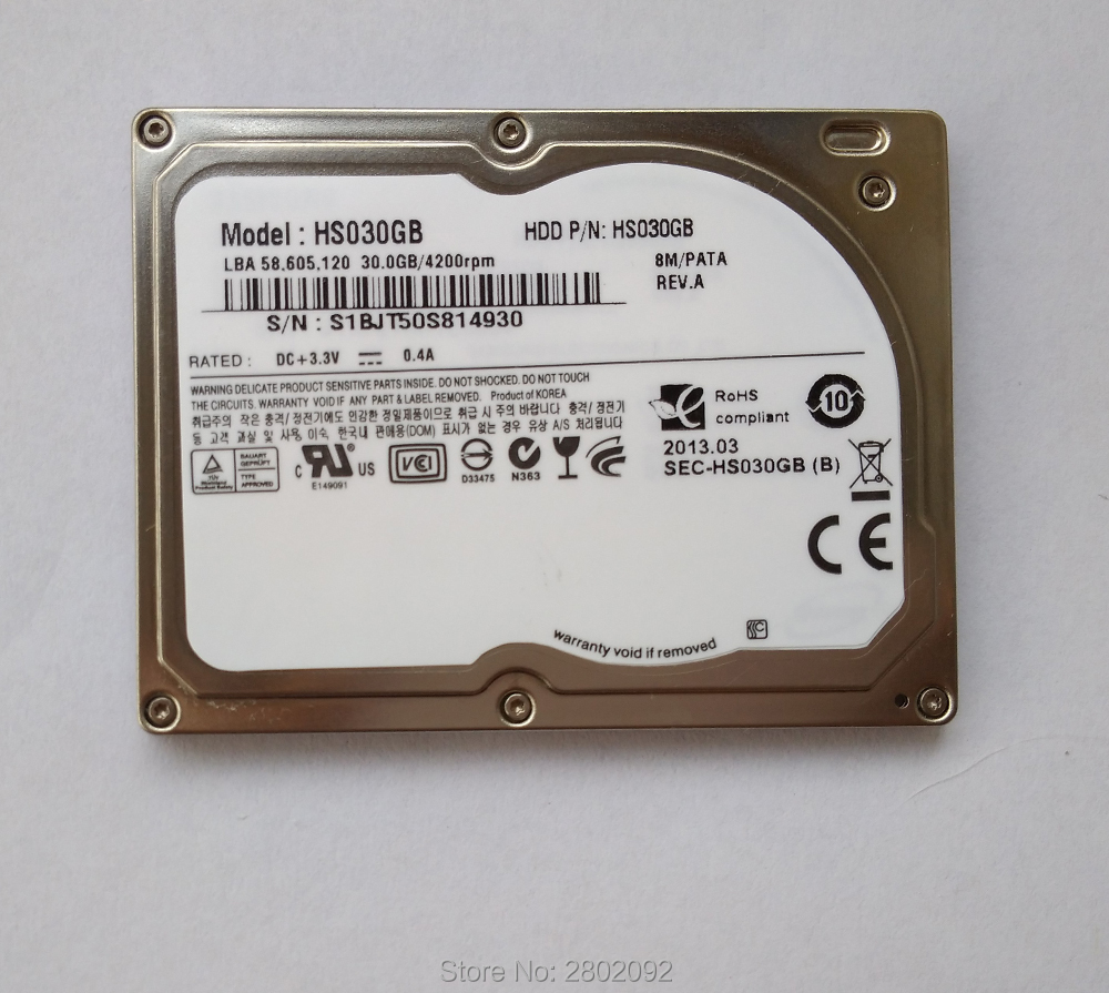 jauns 1,8 collu cietais disks ZIF / CE 30G IPOD VIDEO ZUNE HDD HS030GB DELL d430 D420 HP 2510P 2710P REPLACE HS06THB HS04THB