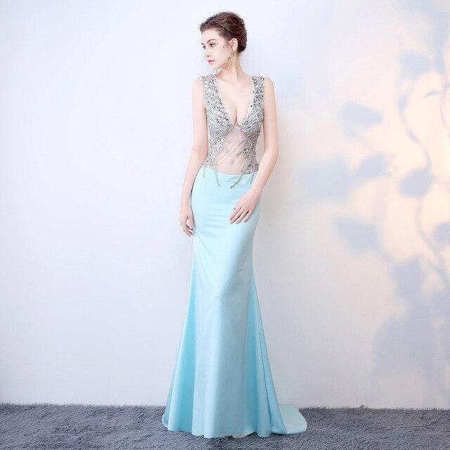 Handmade 2018 Women Dresses Vintage Wedding Elegant Evening Party Club Wear Sexy Summer Long Dress Blue Mesh Lace Clothing