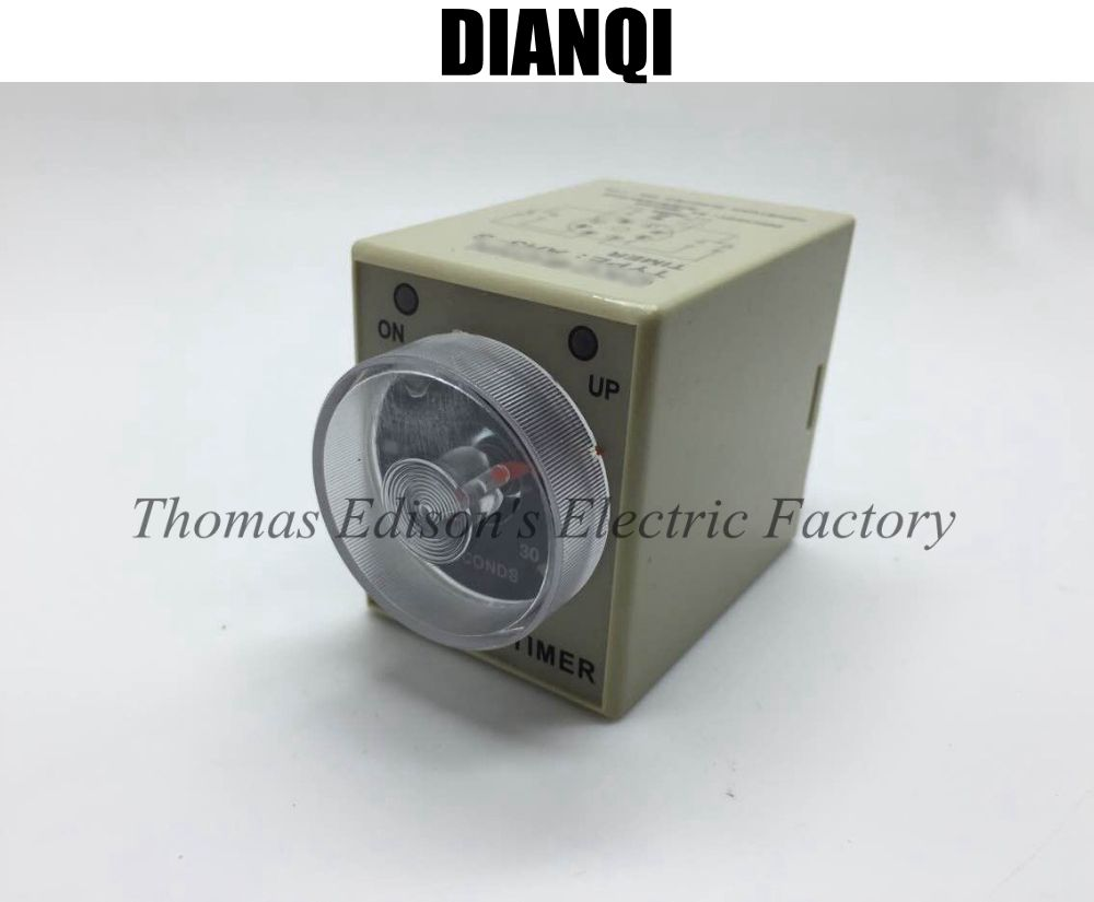 AH3-2 8 Pin DPDT 0-3 Hours 3H Power on Delay Timer Time Relay with socket base AC 110V/380V/127V/36V DC 24V цена и фото