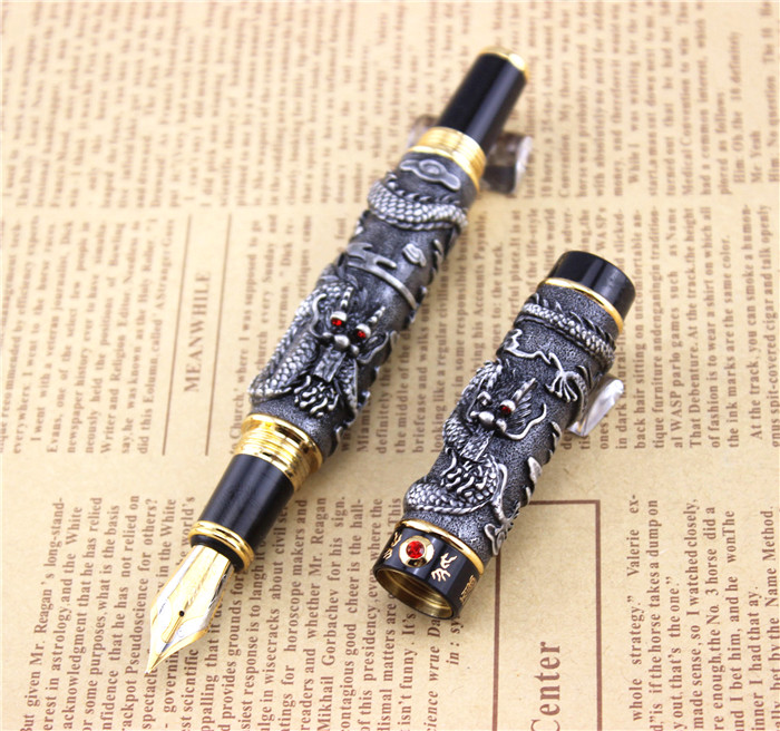 JINHAO GRAY FOUNTAIN PEN BROAD NIB DRAGON PLAY THE PEARL YY36 italic nib art fountain pen arabic calligraphy black pen line width 1 1mm to 3 0mm