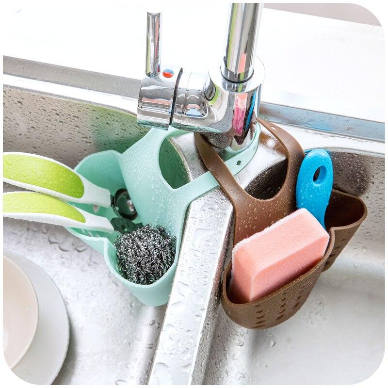LIYIMENG Sink Shelf Kitchen Sponge Drain Holder Storage Bag Toilet Soap Shelf Organizer Rack Hanging Basket Double Hanging Hag Rack B10