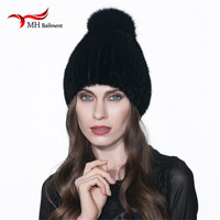 Women's Fur Cap Real Mink Fur Hat With Fur Pom Pom Knitted Mink Hats For Winter High Quality Thick Warm Female Beanies W#05