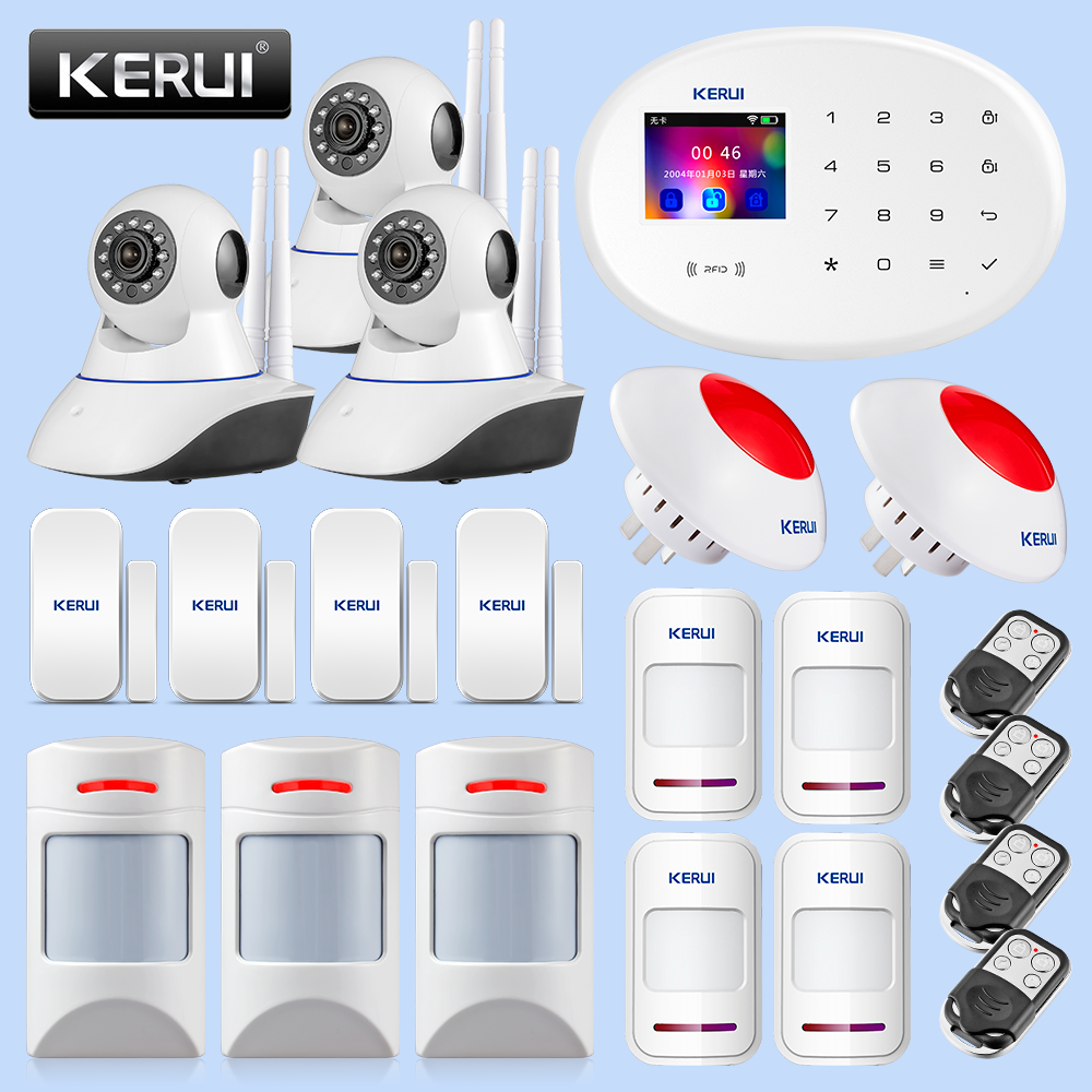 KERUI Family Safety Alarm Equipment Infrared Detection Remote Control Removal Camera Monitoring Suite