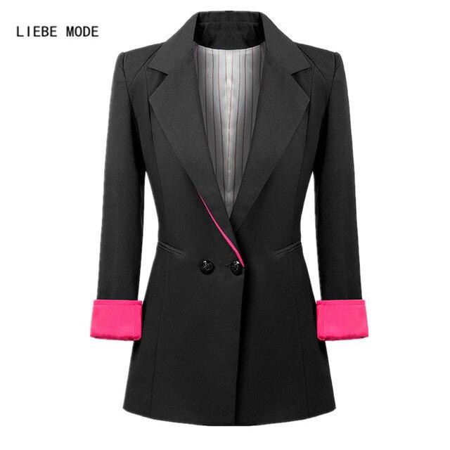 Ladies Double Breasted Long Blazer Women Work Wear Long Sleeve Suit